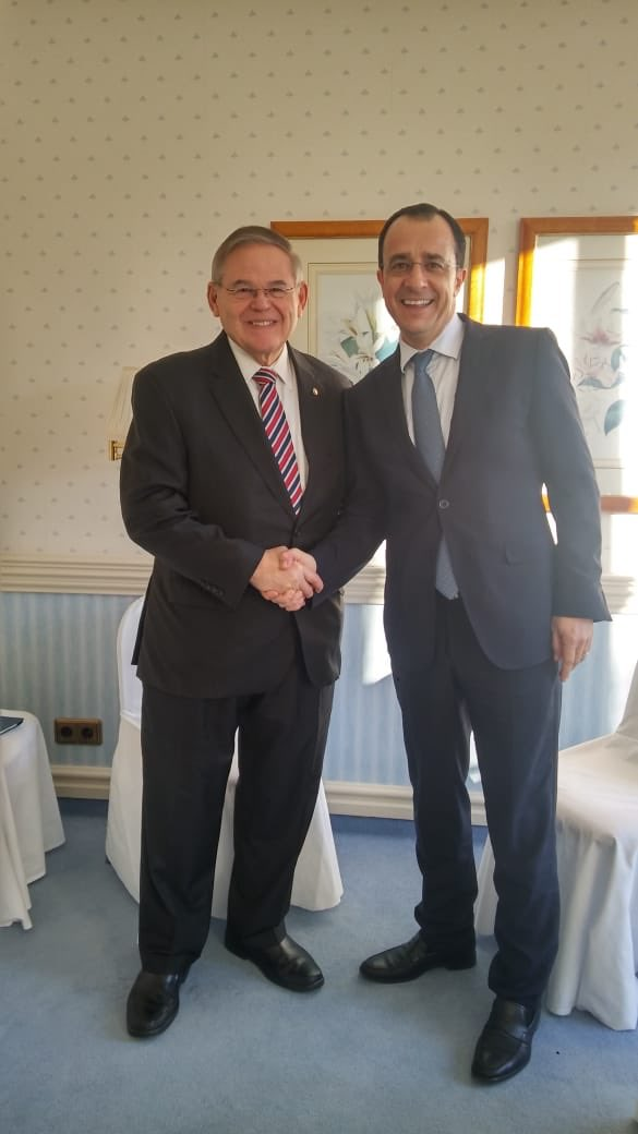 Constructive and forward looking discussion with @SenatorMenendez on the sidelines of the @MunSecConf, #MSC2019, #Munich, #ITAR, #Cyprus, #US, @CyprusMFA, @CyprusinUSA, @HellenicLeaders, @Zemenides