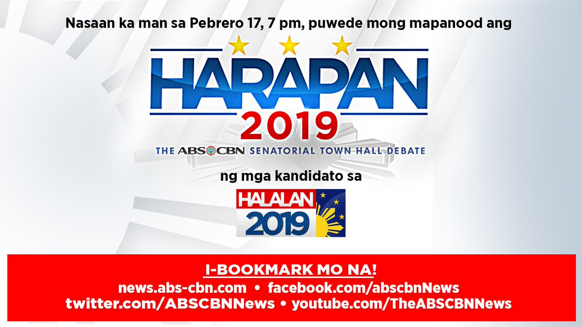 Get to know the candidates better and their stances on issues that matter the most. Watch the first round of #Harapan2019 today at 7 p.m. Don't forget to bookmark these pages so you can watch the livestream right on your devices.  #Halalan2019