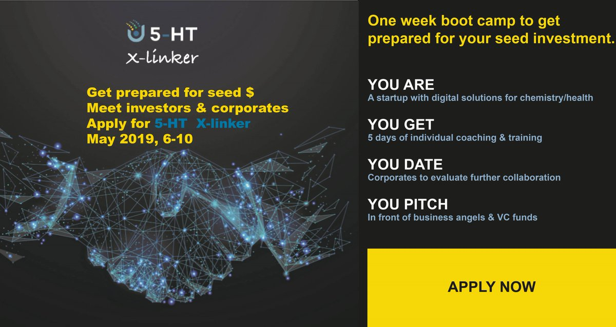 To all #startups in #digitalchemistry & #digitalhealth looking for seed investment: Get one week of excellent individual training and meet proven industry experts and investors. Be an early bird. Application is open! https://t.co/DmB959FpvQ #dehubchemhealth #5HT_Xlinker https://t.co/4f96mIqkta