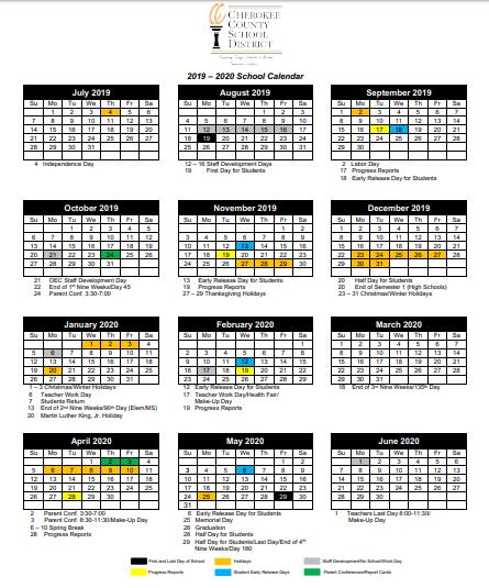 Cherokee County School Calendar 2020 Cherokee County School District Calendar 2019 2020 Tweet added by