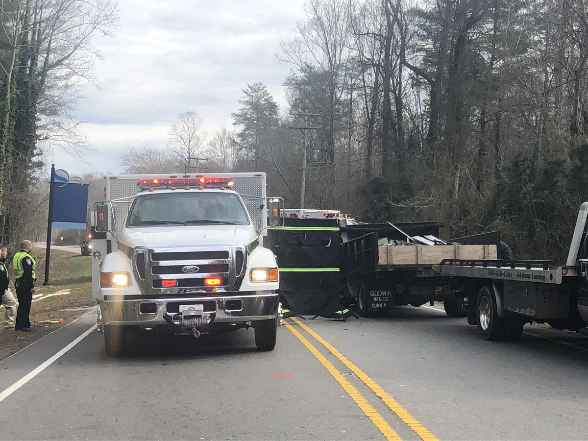 #BREAKING One person is dead and two others injured after a crash involving a Burke County Public Schools truck on Sanford Drive near Tate Street. Road still is shutdown while police investigate.
