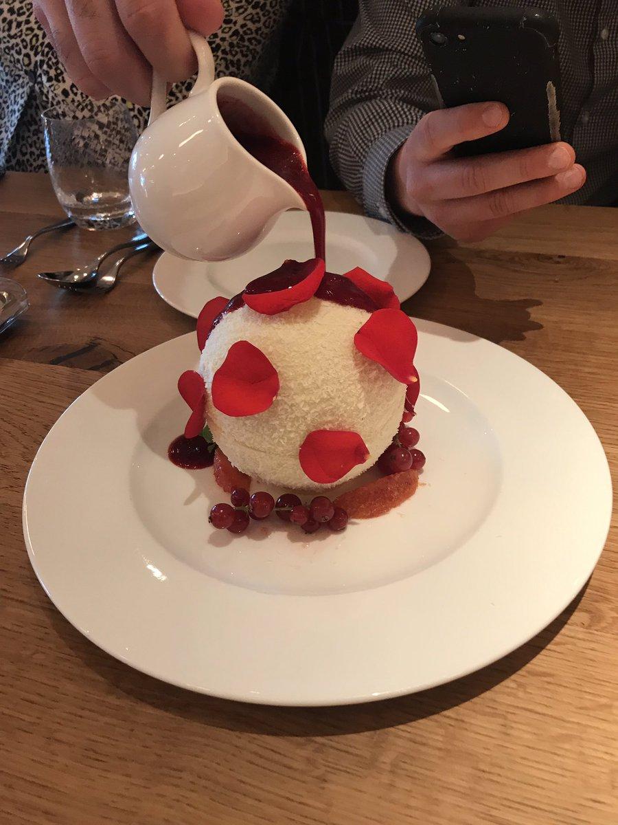 Tasty? Spectacular? Yes and yes. #whitechocolatesphere w coconut& #Raffaello white chocolate meltin under a raspberry coulis to reveal a pistachio cake and #raffaello inside. #ferrerofoodservice @francescocook #fiumerestaurant