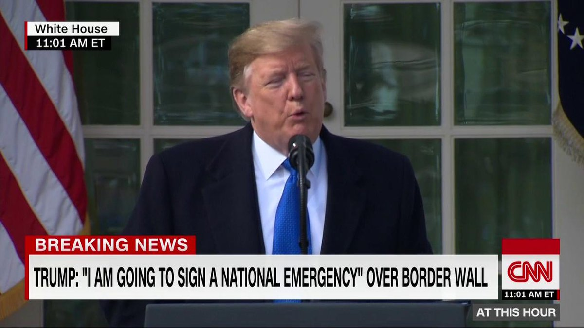 The president describes the process of declaring a national emergency -- and getting sued