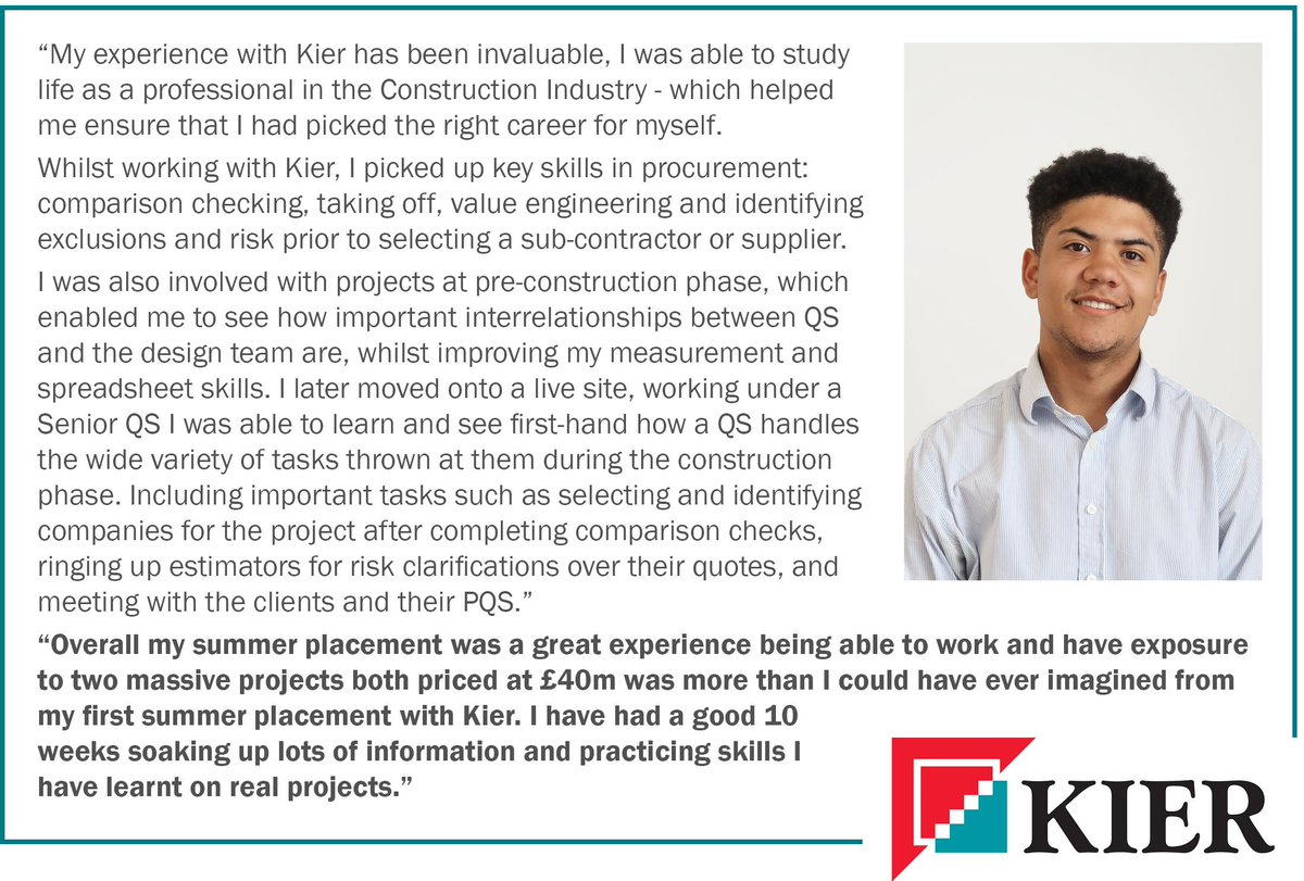 Considering a career in construction? #KierEastern placement student Tatenda Ward talks about his experience working with Quantity Surveyors at Kier. #CareersinConstruction #QuantitySurveyor #WorkExperience #ShapingYourWorld