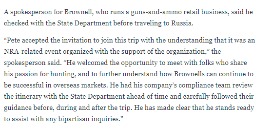 NRA folks can't get their story straight about whether the 2015 trip to Russia was supposed to be an official trip or not. https://www.thedailybeast.com/boyfriends-email-butina-manipulated-russian-spy-agency-for-nra-trip…