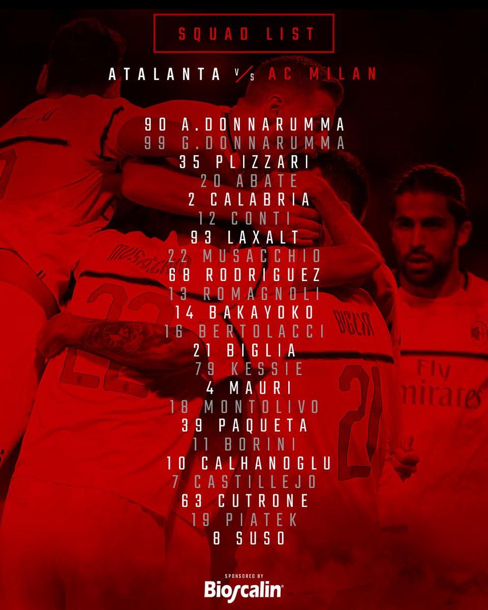 The 23-man squad to travel to Bergamo I 23 convocati di Mister Gattuso per #AtalantaMilan