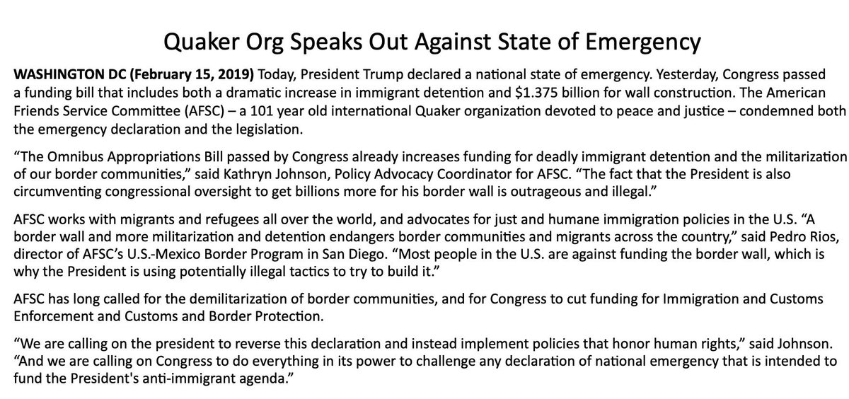 Already not a fan of Trump's state of emergency: Quakers.