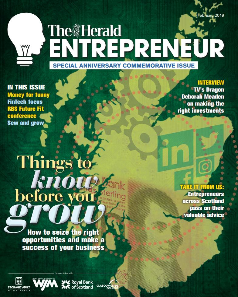 Pick up tomorrow's Herald to get your FREE special anniversary commemorative issue of The #HeraldEntrepreneur!   @storagevault @WrightJohnston  @RBSBusiness   @Glasgow_Clyde