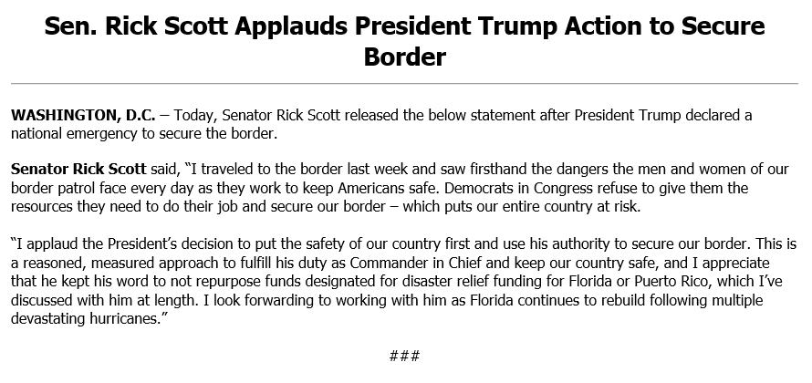 I applaud @POTUS' decision to put the safety of our country first and use his authority to secure our border.  I traveled to the border last week and saw firsthand the dangers the border patrol men & women face every day as they work to keep Americans safe.  Full statement below:
