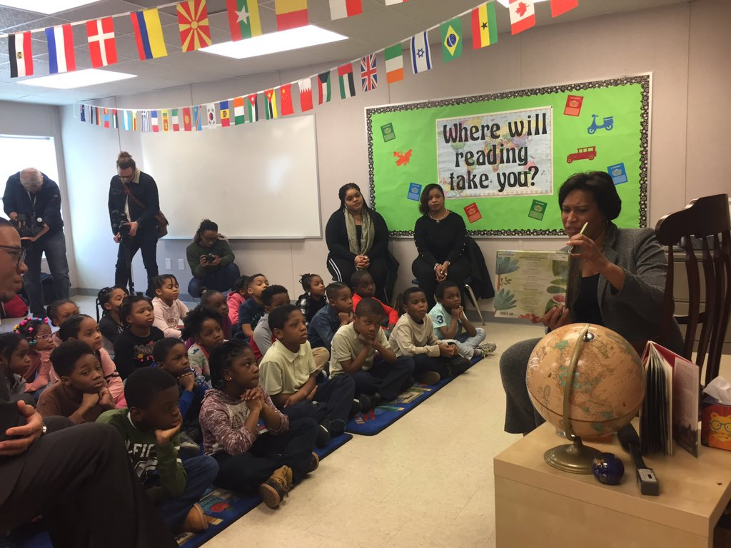 Mayor Bowser is reading to students at Charles Houston Elementary in NE.  It's called African American Read In which celebrates black authors during Black History Month.