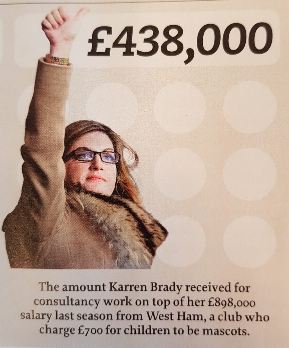 £438,000  The amount Karren Brady received for consultancy work on top of her £898,000 salary last season from West Ham, a club who charge £700 for children to be mascots.  WSC 384 out now ~ https://shop.wsc.co.uk/wsc-384.html