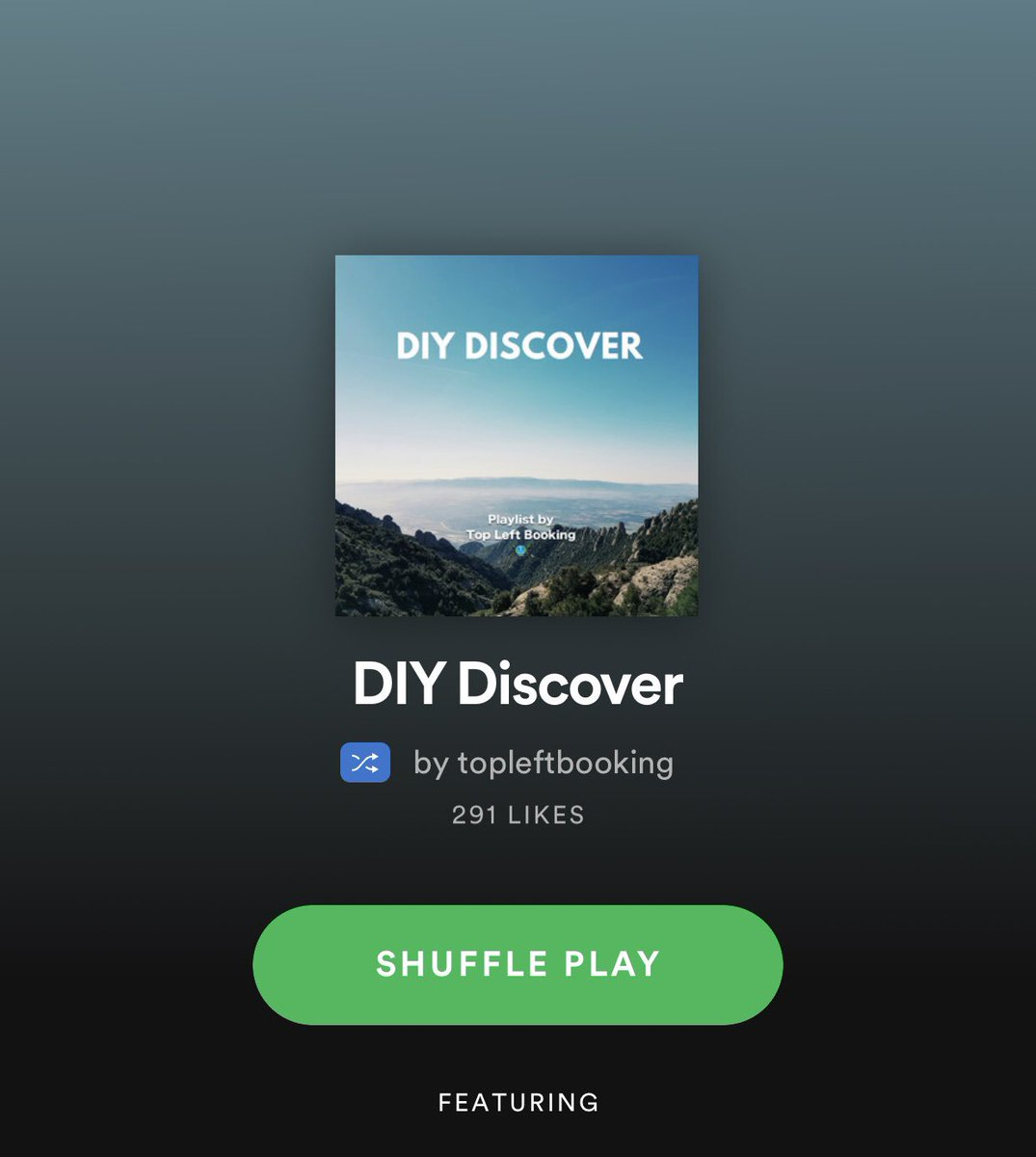 100% DIY Musicians #Spotify #Playlist   Check it out! 👉 https://open.spotify.com/user/topleftbooking/playlist/0cu0YQXkOUMIkhIIwgIjjO?si=O3j0Iw1dTE2EJUCWI_C6yw …  🌎 DM to submit your music 🌎 #localband #singersongwriter #unsignedmusic
