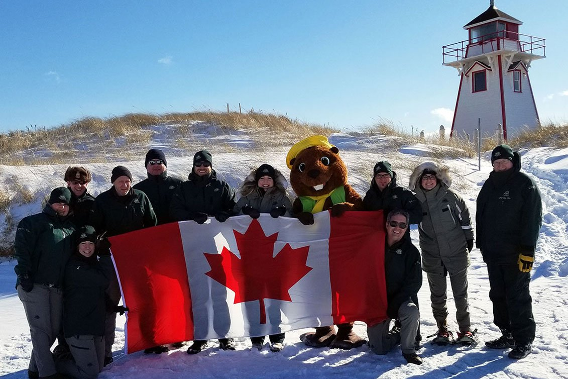 Happy #FlagDay! 🇨🇦 Each year, the #ParksCanada team proudly accepts @CdnHeritage's #CanadianFlag challenge and each year we crush it! 🙌 Our colleagues in #PEINP are no exception! Show us your #NationalFlagDay photos! @ParksCanadaPEI