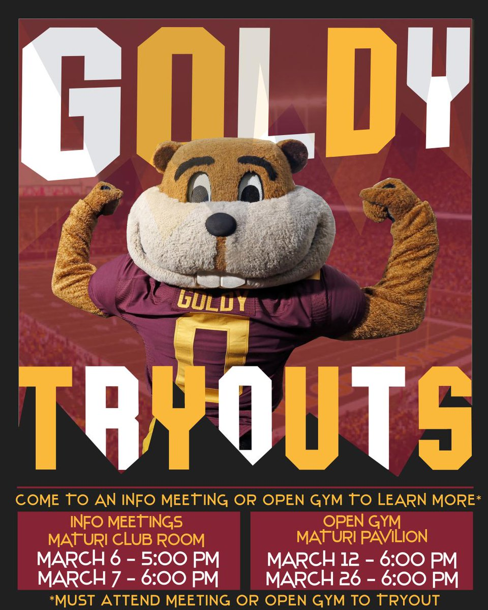 GOLDY TRYOUTS! Have you ever wanted to fly above the crowd at football? Dance with the Barnyard at basketball? Or run out of the tunnel with the hockey team? Now is your chance! Goldy tryouts are coming! Email go4it@umn.edu or DM me for more info!