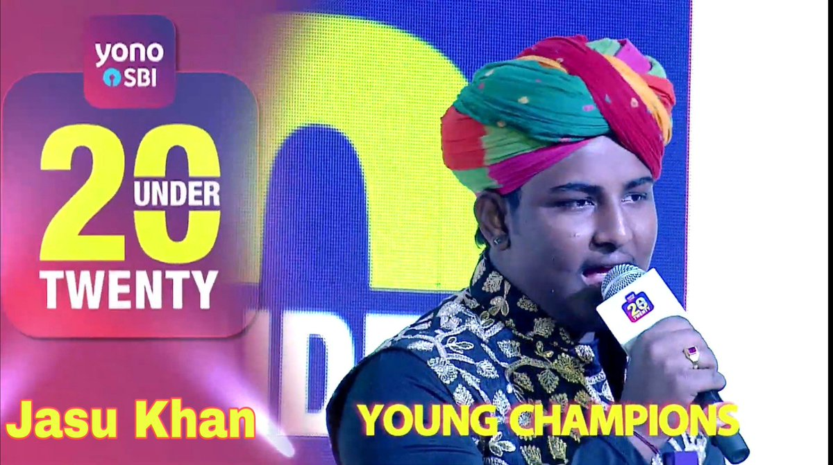 Thanks a lot @TheOfficialSBI #20under20_SBI For Wonderful opportunity #JasuKhanSBIAward and Thank you so much india for Deemed me worth such a great award Khama ghani and Watching me tomorrow 3:30pm on @IndiaToday  @arjunk26 @ZairaWasimmm @deespeak