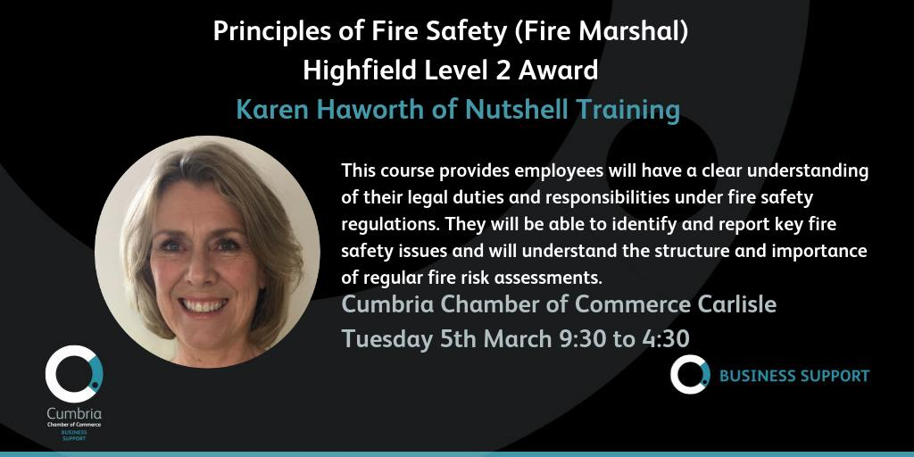 test Twitter Media - Highfield Level 2 Award in the Principles of Fire Safety (Fire Marshal) on 5th March at Cumbria Chamber of Commerce, Carlisle. More info & booking https://t.co/HhB46nebYW @nutshelltrainer https://t.co/Xbqo1gXKD9