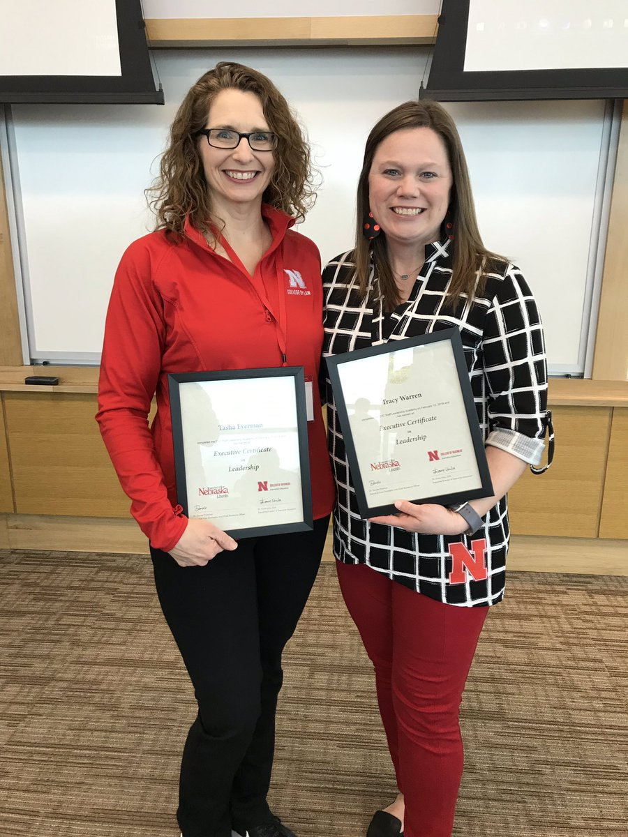 Graduation day for @Tasha_Everman and me from EVC @DondePlowman's Staff Leadership Academy. #GoBigRed #NELaw