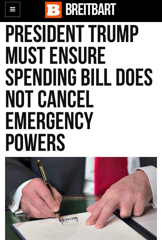 #PresidentTrump Declaring A National Emergency   DOES NOT SET PRECEDENT For Marxist Gun Grabbing Democrats  BUT Signing The Spending Bill May Block Emergency Powers    #BuildTheWall  @realDonaldTrump https://t.co/7c2aNK81SZ