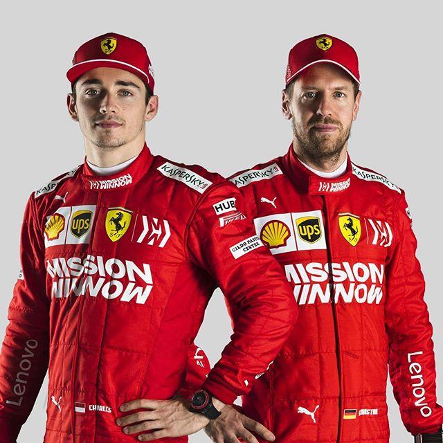 Sebastian Vettel & his new Ferrari teammate Charles Leclerc, in the new Ferrari overalls.  #Seb5 #ForzaSeb