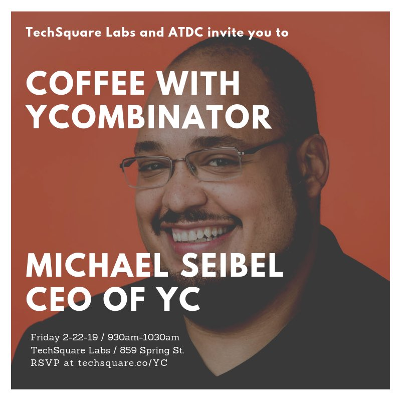 Next Friday Feb 22 Michael Seibel, CEO of @ycombinator is in #Atlanta. Please join us for conversation and coffee at @techsquare Labs.  RSVP @ http://techsquare.co/YC   He will also be at @thegatheringspots for a lunch and learn #ycombinator #startups #buildsomethingfromnothing