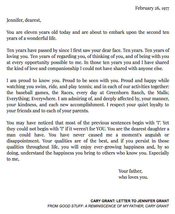 Letters Of Note Sur Twitter Cary Grant S Letter To His Daughter On Her 11th Birthday