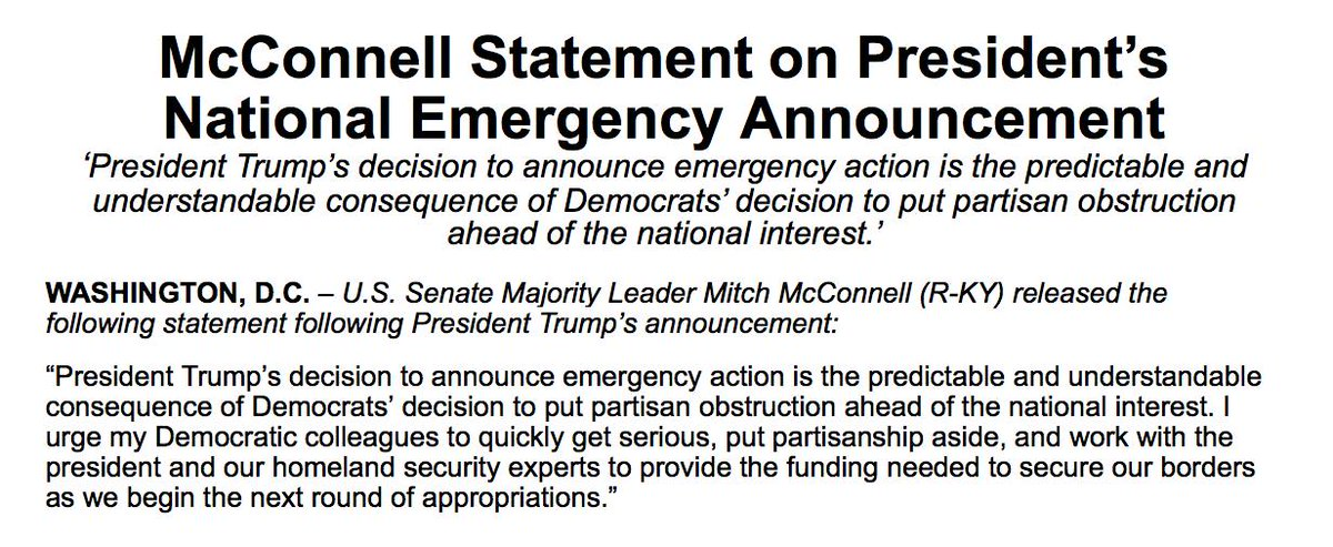 My Statement on @POTUS's National Emergency Announcement https://www.republicanleader.senate.gov/newsroom/press-releases/mcconnell-statement-on-presidents-national-emergency-announcement …