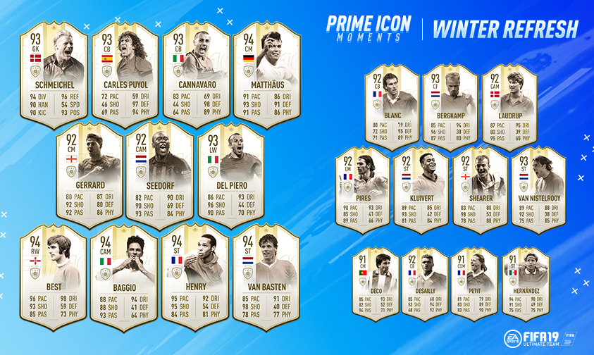 The first group of Prime ICON Moments is now live in packs! More to come towards the end of Winter Refresh and throughout remainder of FUT 19. Get more info on Prime ICON Moments 👉  https://t.co/spoDHLE1hg