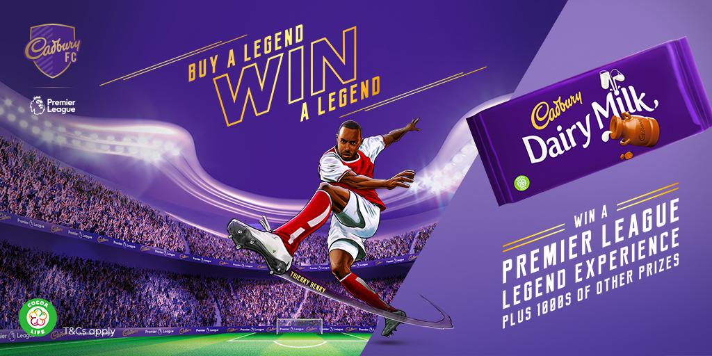 Fancy winning an experience with a Premier League Legend? @CadburyUK is giving you the chance!   Plus the chances to win thousands of other Cadbury FC prizes are up for grabs!   Enter here 👉 http://preml.ge/D7arOo   T&Cs apply