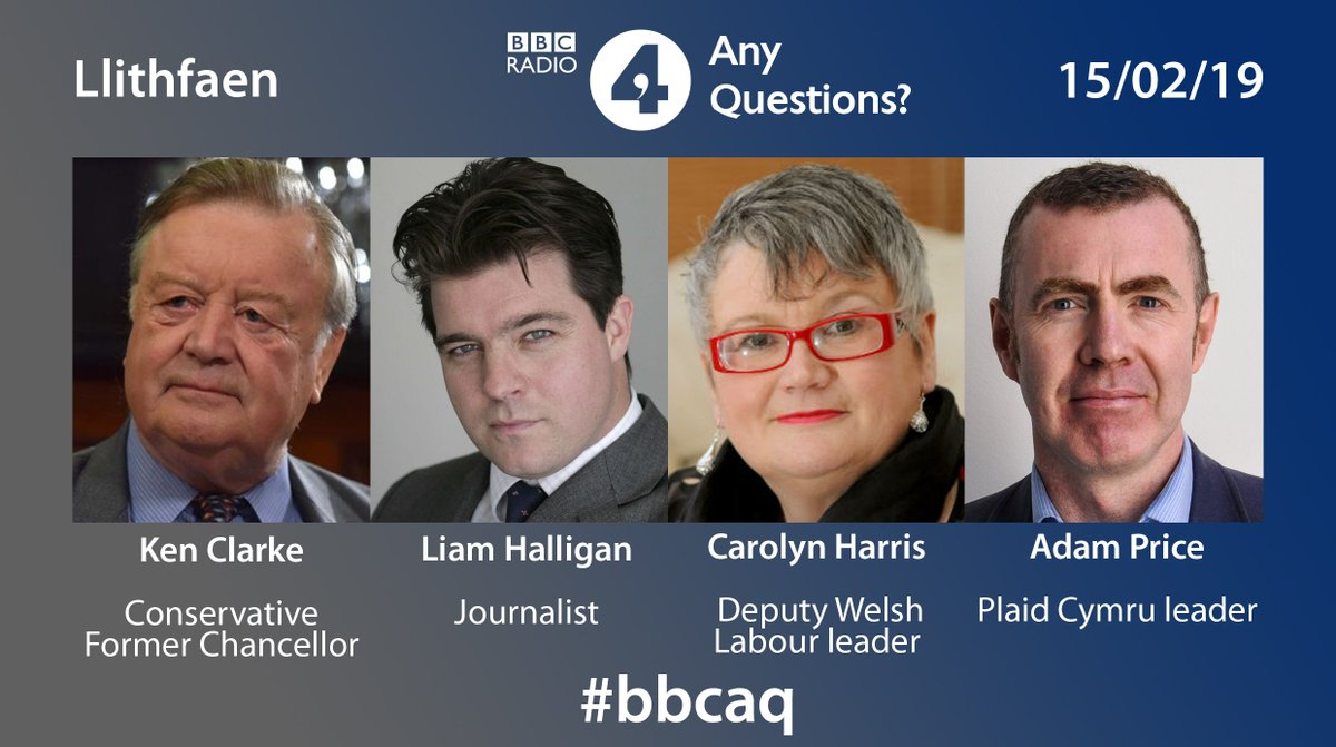 What question would you ask this week Any Questions panel?   Let us know #bbcaq  We are in north west Wales with Ken Clarke, @LiamHalligan, @carolynharris & @_Adam_Price Tonight 8pm Radio 4