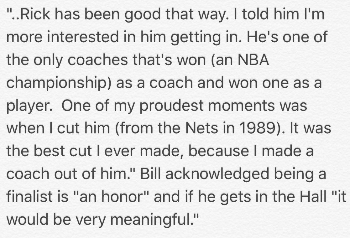 """Bill Fitch is a finalist for the Naismith Memorial Basketball Hall of Fame.He got the word from @dallasmavs coach Rick Carlisle:""""I talked to Rick a little while ago.He told me about it.I told him getting into the Hall of Fame,I suppose,means more to the people I've been around.."""""""