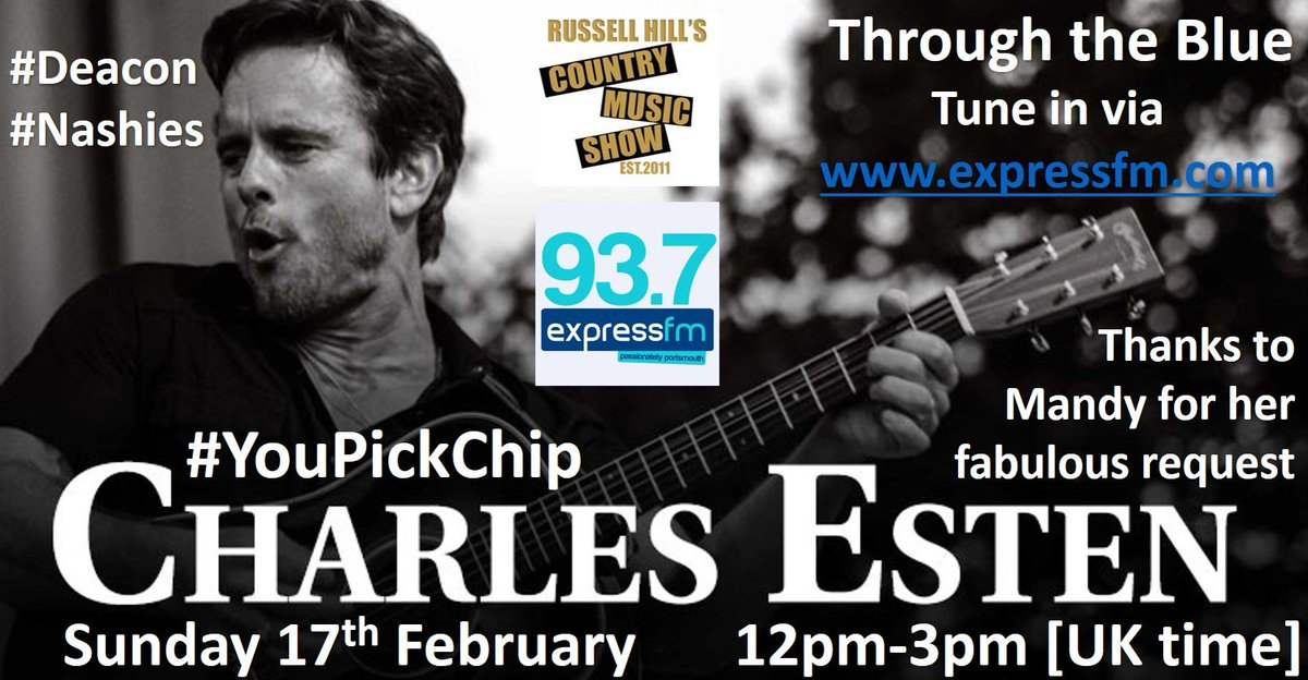 Hey #Nashies. As Mandy was the 850th person to like my @facebook page, I asked if she had a request and Mandy chose a @CharlesEsten belter for #YouPickChip. Tune in to @ExpressFM this Sunday to hear Mandy's top request. @lennonandmaisy will also be on. #Nashville