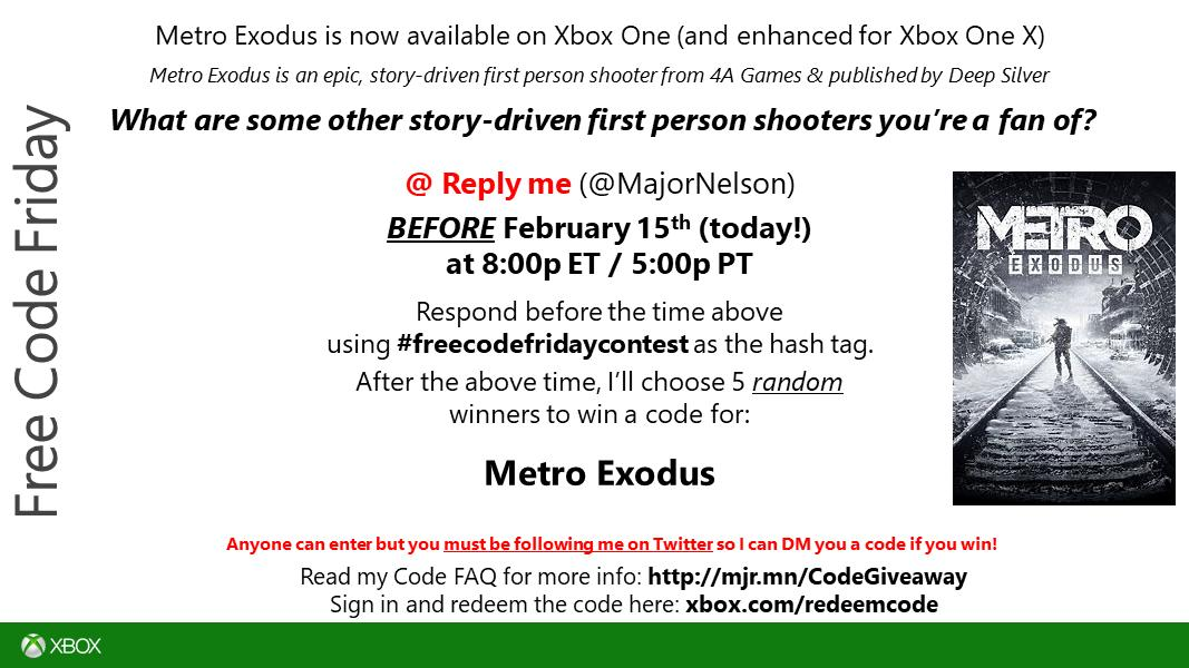 #freecodefridaycontest time. Read this and you could win a code for Metro Exodus on Xbox One. Good luck. https://t.co/NuhacDZHuL