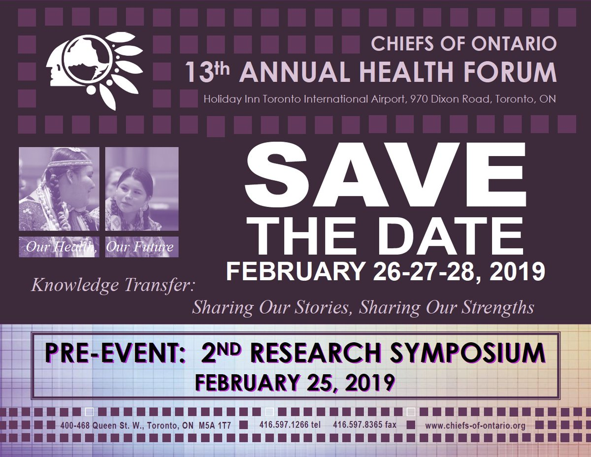 RT @ChiefsofOntario: The @ChiefsofOntario 13th Annual Health Forum will take place on February 26-28, 2019 at the Holiday Inn Toronto International Airport, 970 Dixon Road, Toronto, Ontario with a special pre-event on February 25, 2019. More info here: https://bit.ly/2pNS0W2