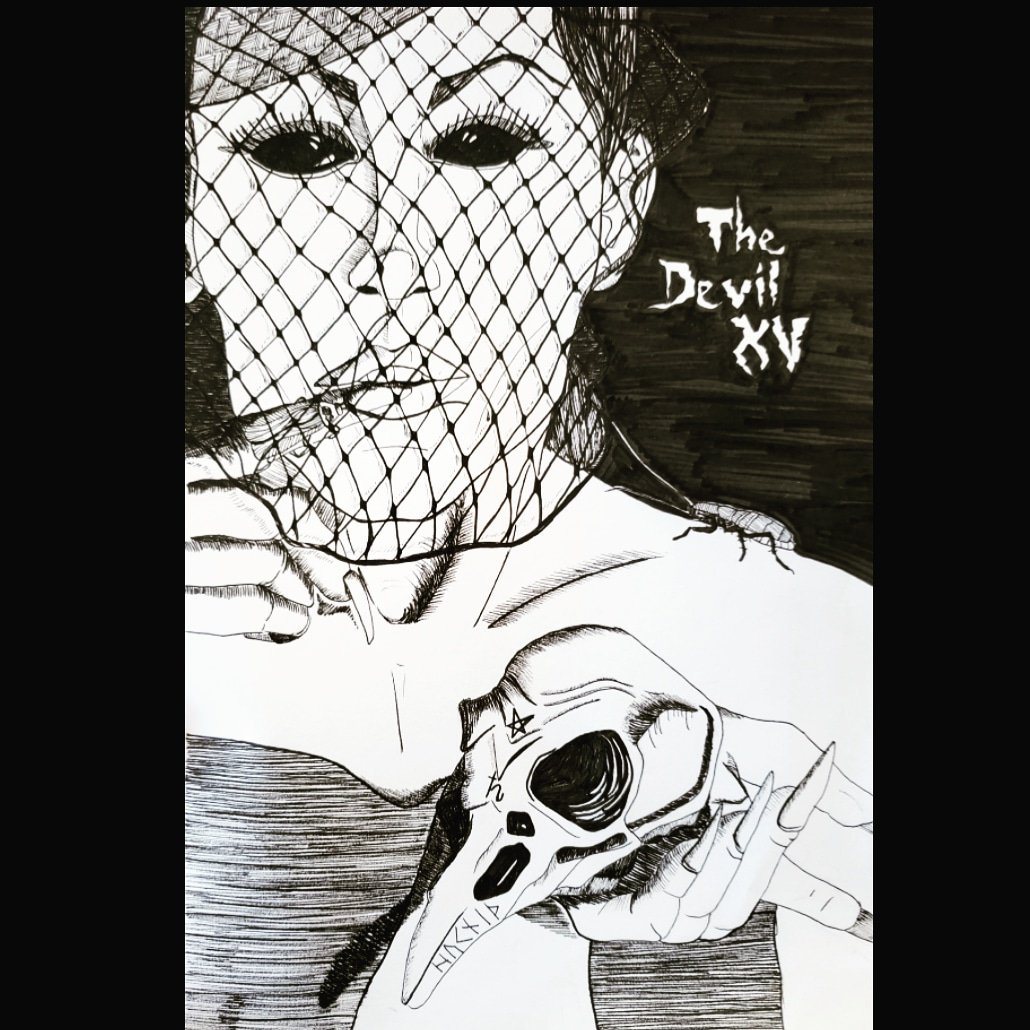 The Devil XV  Can indicate a narrow materialistic view of life or any form of misery and depression, especially feeling chained or imprisoned. Can signify being a slave to your desires.  #instagood #tarot #art #artist #drawing