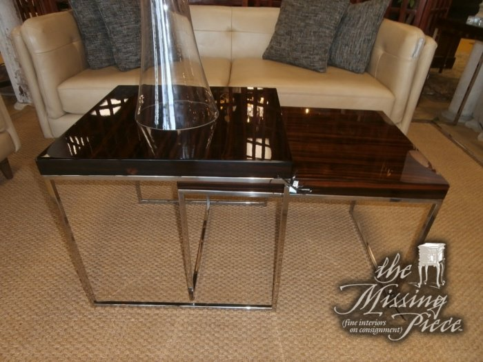 Silver metal based nesting tables with high gloss, zebra wood finish top. http://www.tmpstores.com/i