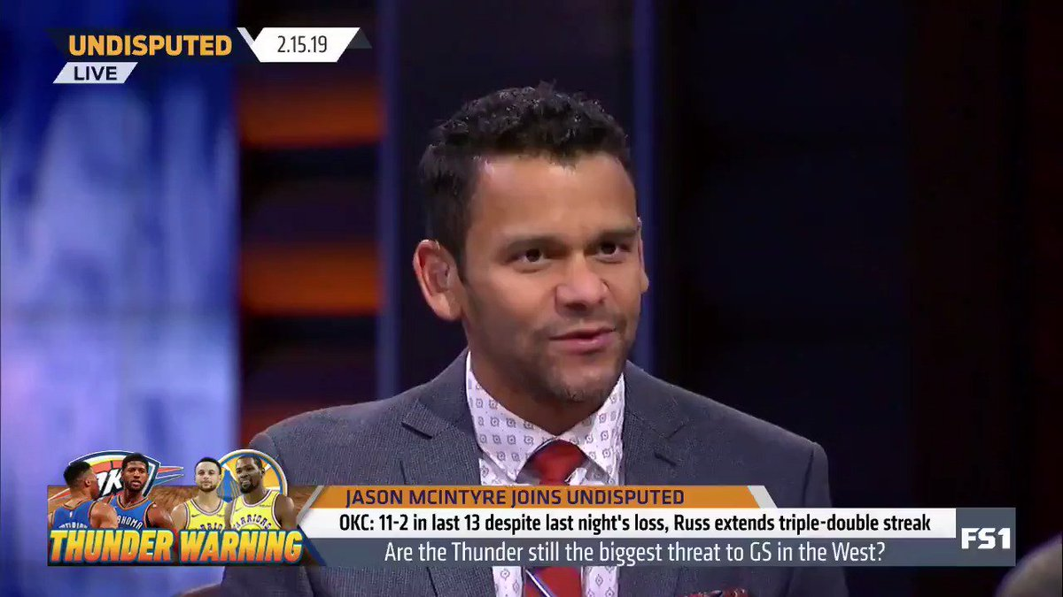 """""""I'm going to go with a team currently not in the playoffs, but with a superstar who's been there a couple of times -- his name is LeBron James. I believe right now the Lakers are the biggest threat to the Warriors."""" — @jasonrmcintyre"""