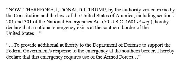 Excerpts from presidential proclamation declaring National Emergency signed today By Pres Trump: