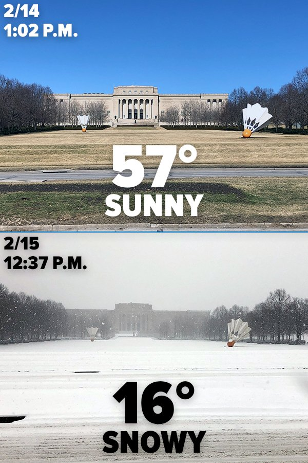 What a difference a day makes in the Midwest...