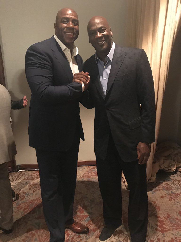 MJ & MJ hanging out at the NBA All Star Tech Summit