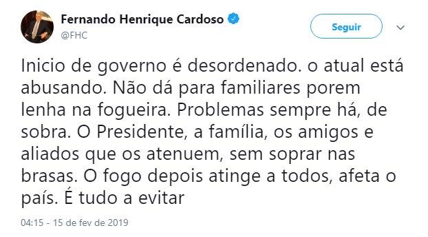 Governo Bolsonaro está abusando, critica FHC https://t.co/kMe0BbEuT9