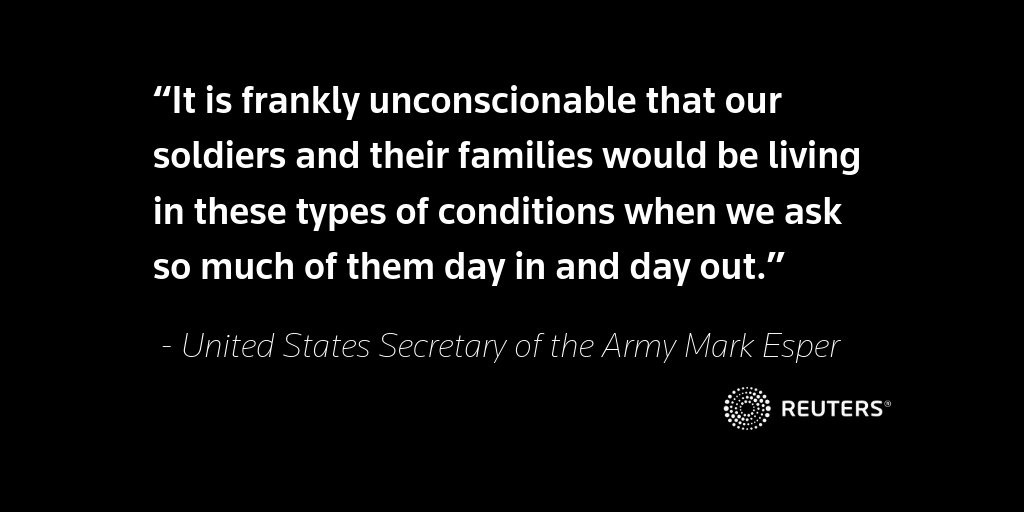'It is frankly unconscionable': U.S. secretary of the Army vows to renegotiate its housing contracts with private real estate firms after @Reuters exposes poor housing conditions in some military homes https://reut.rs/2DJofwo Read the original report https://reut.rs/2DI0gO3