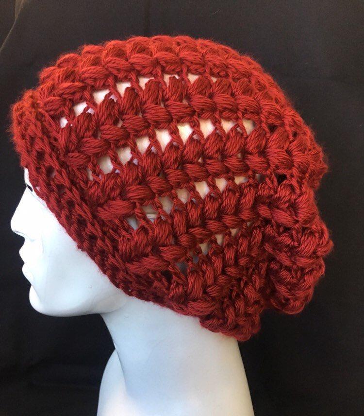 L XL Slouchy Beanie - Red Crochet Beanie  etsy  accessories  hat   f8cf542a75e