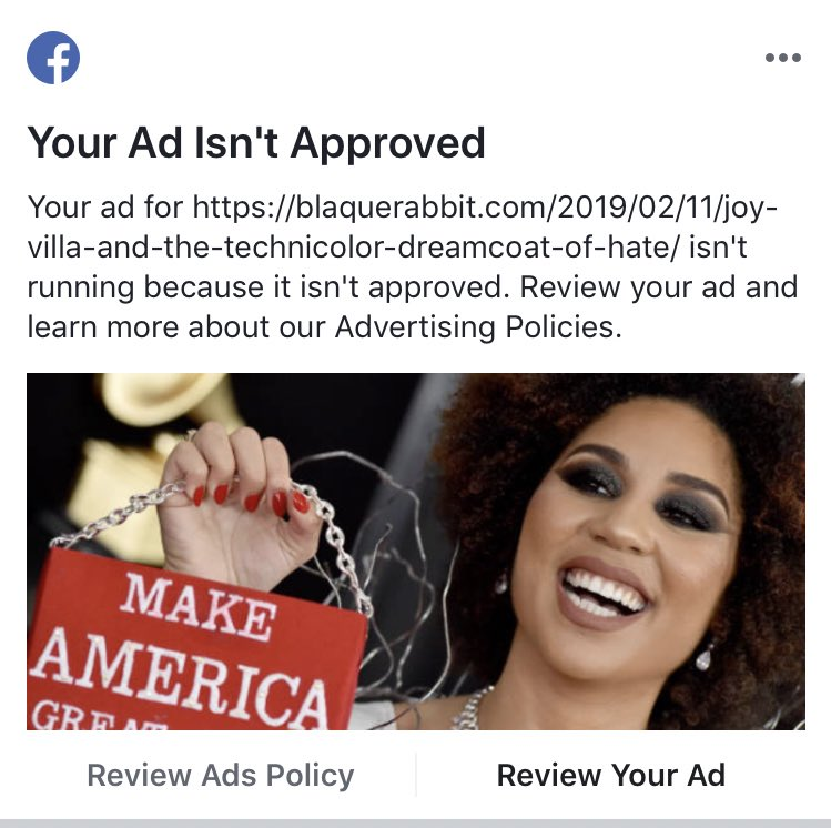 """In a shocking turn of events (SARCASM!!!) @Facebook has decided to reject our attempt to promote one of our """"Perspective"""" pieces... you tell us if this piece deserved to be rejected. The link is in the bio... #BRabbit #grammys  #grammys2018 #JoyVilla #MagaFools #ThisIsStupid<br>http://pic.twitter.com/oJVez2mHJP"""