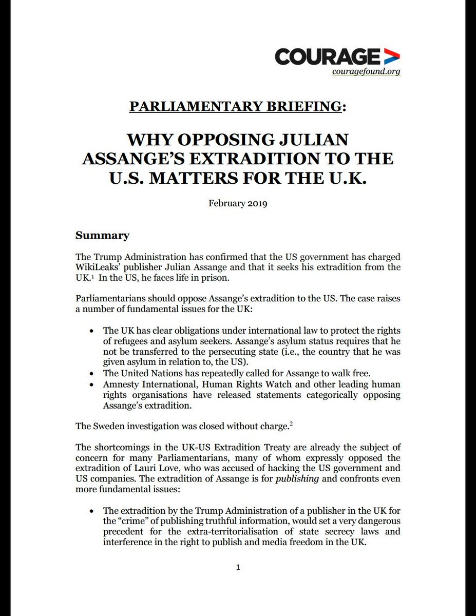 Should the Trump Admin be able to dictate what is published in the UK? That is what is at stake in the extradition of Julian Assange to the US. UK MPs must oppose his extradition to the US. New briefing on the facts of the Assange case available here: https://defend.wikileaks.org/2019/02/14/uk-parliamentary-briefing/ …