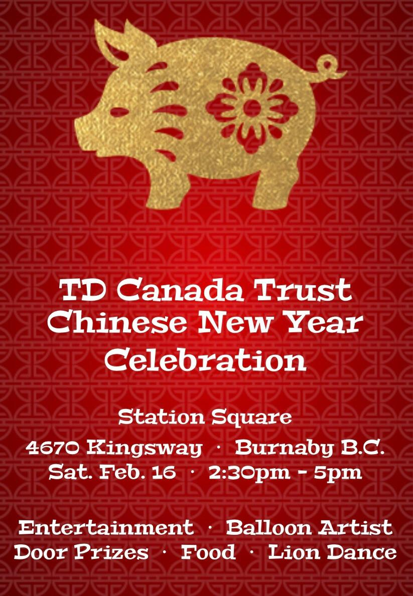 Come join us for Station Square's annual CNY celebration tomorrow! Bring your friends and family for an afternoon of food, entertainment, door prizes, and lion dances!  #9463 #tdcanadatrust #CNY2019 @maehpowell @Keith_Y_Wong @BruceGray_TD @AndyCribb_TD