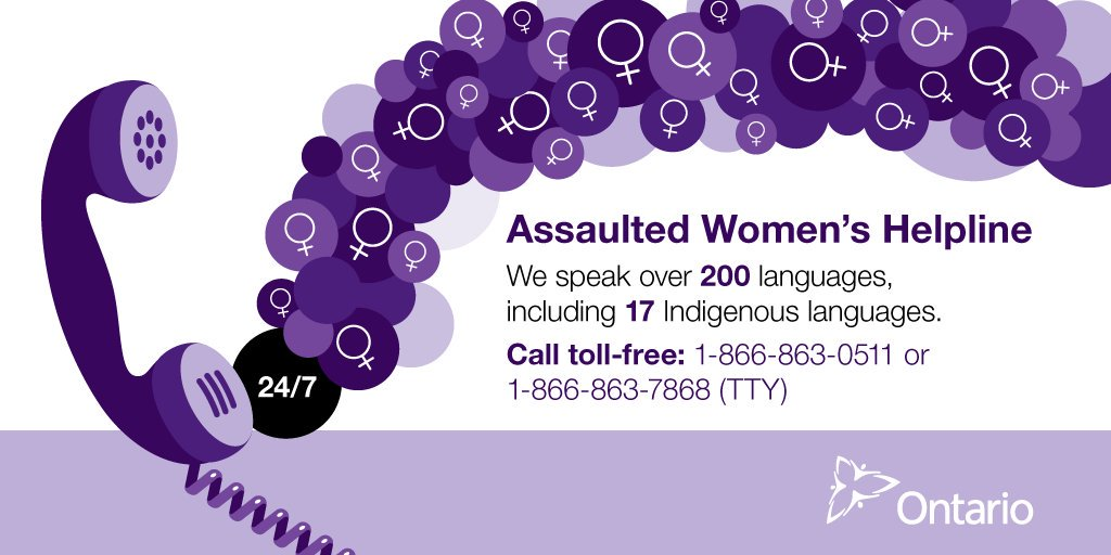RT @WomenON: There's help for women & families experiencing domestic violence to find the right supports. @AWHL has services in over 200 languages, as well as deaf, deaf-blind & hard of hearing services. Call 1-866-863-0511 for 24-hour support: #WAPM #VAW https://www.mcss.gov.on.ca/en/mcss/programs/community/helpingWomen/whotocall.aspx …
