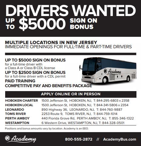 Academy Bus is hiring Bus Drivers!   Up to $5k sign on bonus for FT, $2500 for PT, Paid training, competitive pay and Benefits!   Call 800-555-2872 today to learn more about this job  #job #jobs #busdriver #driverjobs #busdriverjobs #bus