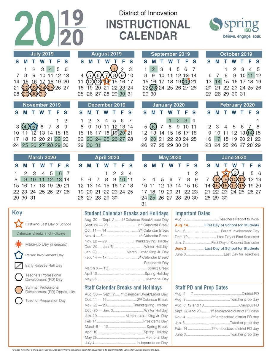 Spring Isd Calendar 2019 ICYMI: Spring ISD Board Approves 2019 20 Instructional Calendar