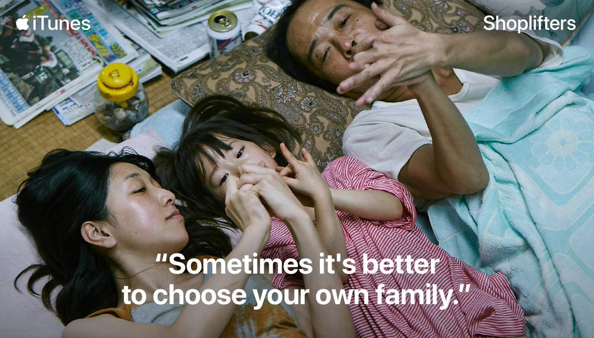 How families are made isn't always a perfect science, but that doesn't mean there isn't love.  Rent or buy the #Oscar nominated film, #Shoplifters on iTunes today! http://apple.co/Oscars