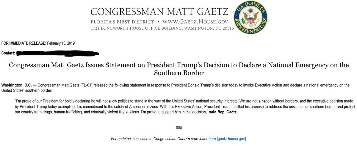 """Rep. Matt Gaetz (R-Fla.) last month cautioned Trump against a national emergency, saying he didn't want a Democratic prez to """"build transgender bathrooms in every elementary school in America.""""  Today, he's fully on-board."""